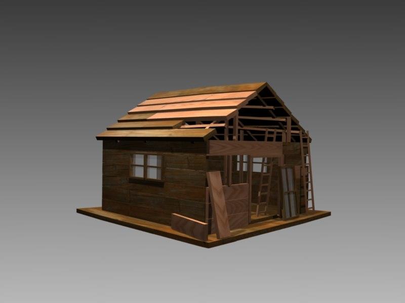 3d garden log cabin