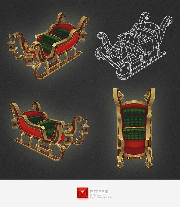 3d model santa sleigh