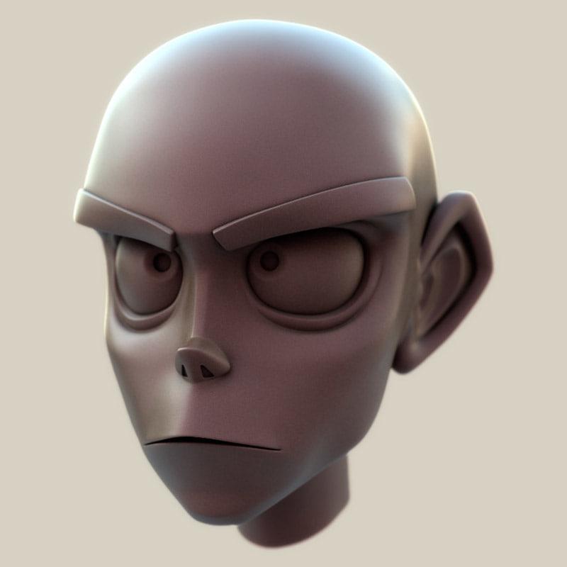 cartoon head toon 3d model