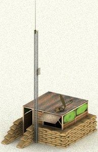 3d military shack model