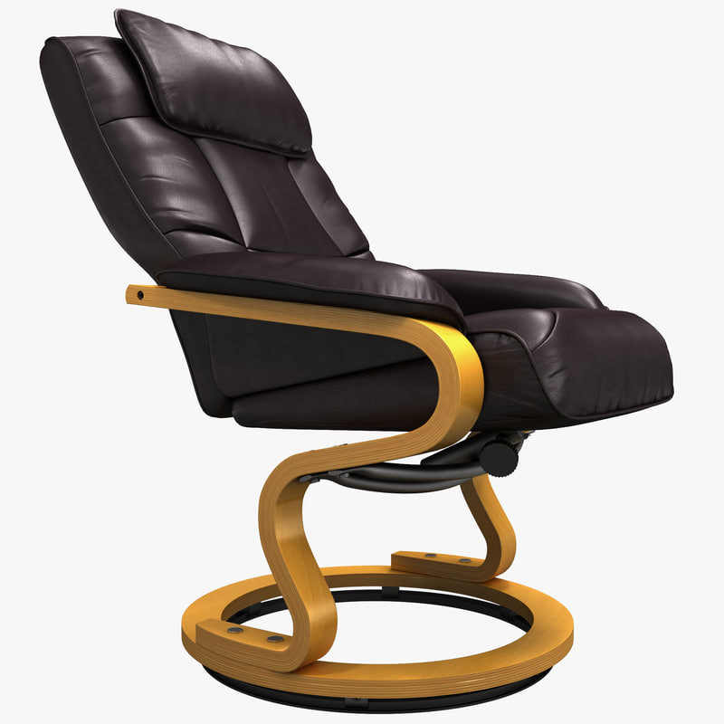 3d model of leather recliner swiveling wood
