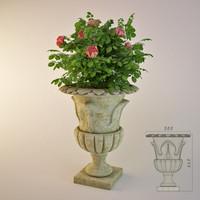 Garden vase with wild rose bush