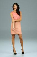 3d girl salmon dress model