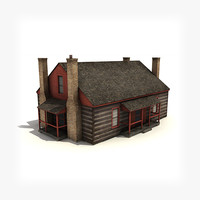 low-poly wooden house building 3d model