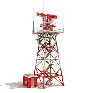 low-poly radar tower 3d model