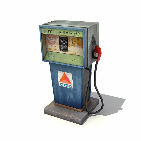 3d low-poly gas pump