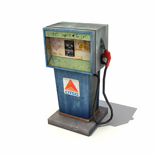 3d low-poly gas pump