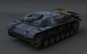 sturmgeschütz wwii german 3d model