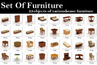 3d model set of furniture 33 objects