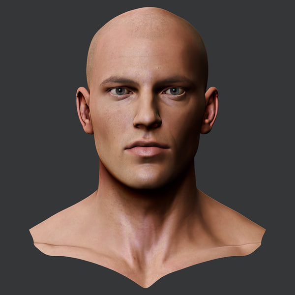 3d realistic male head model