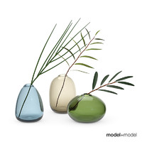 3d set glass pebble vases
