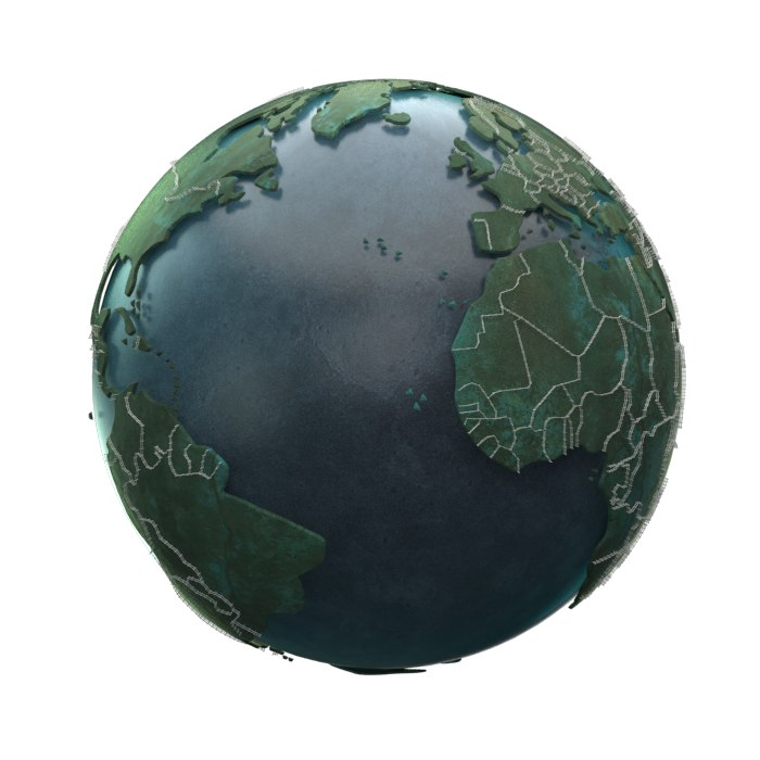 3d earth fences countries model