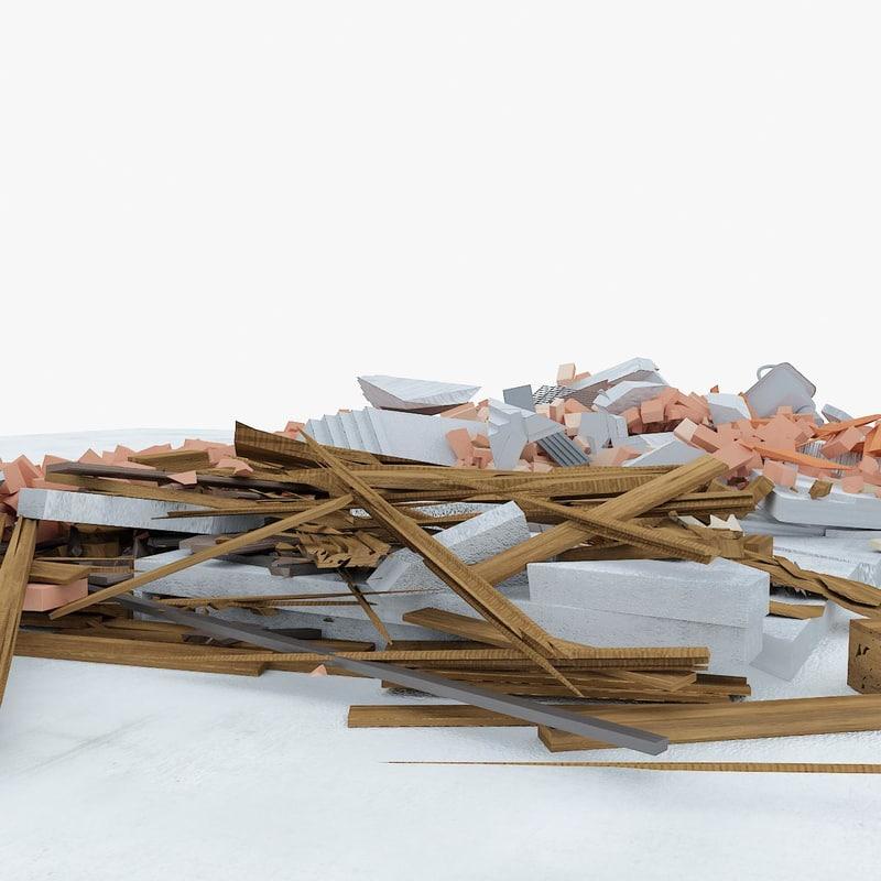 3d model construction debris 2