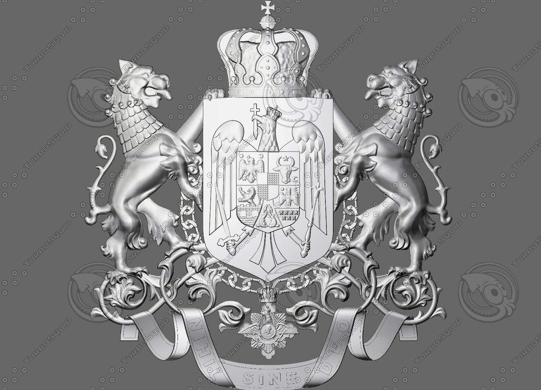 royal coat arms romania 3d model