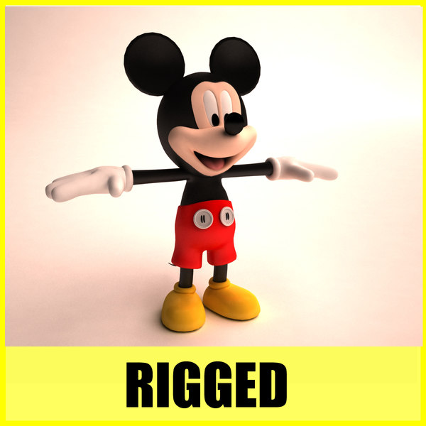 3d model of mickey mouse rigged