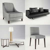 contemporary lounge furniture leather sofa 3d max