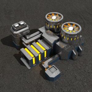 3d powerplant sci-fi building