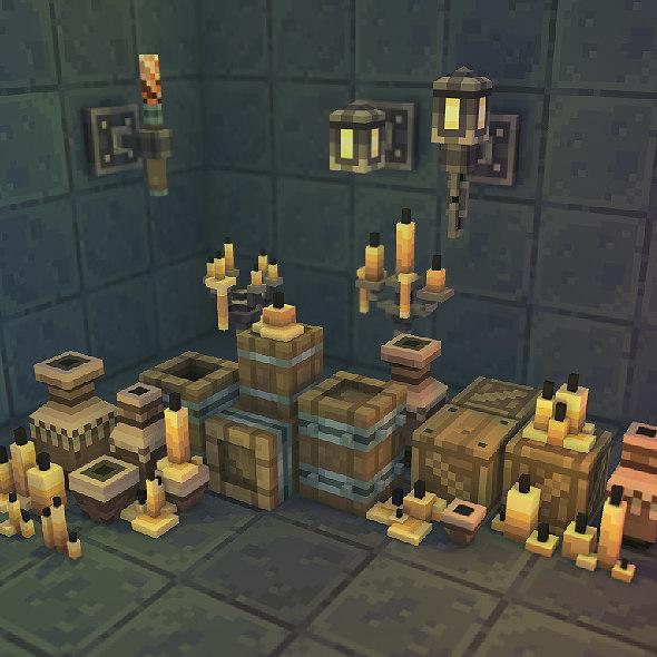 3d model pixel dungeon set deco