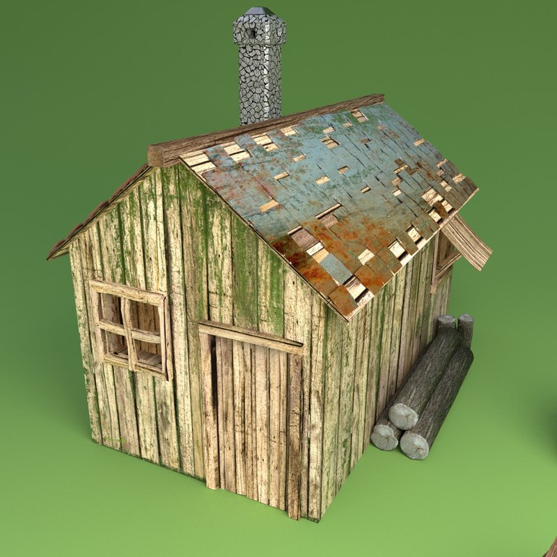 3d rusted wooden hut