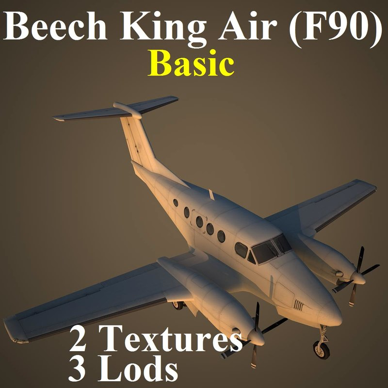 beech king basic aircraft 3d model