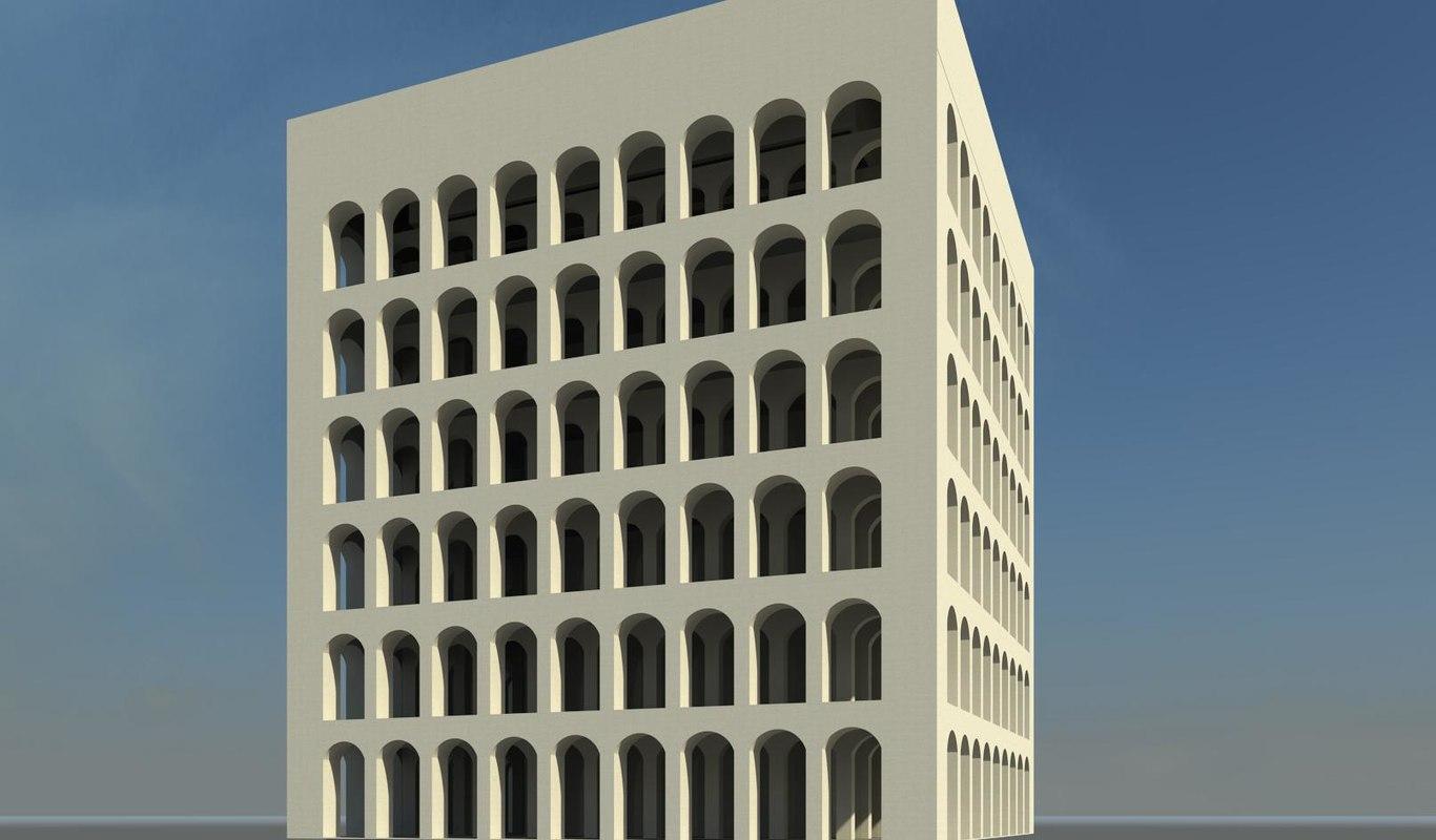 3d model architectural square colosseum rome