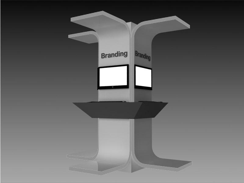 engagement kiosk 3d max