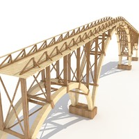 3d old wooden bridge