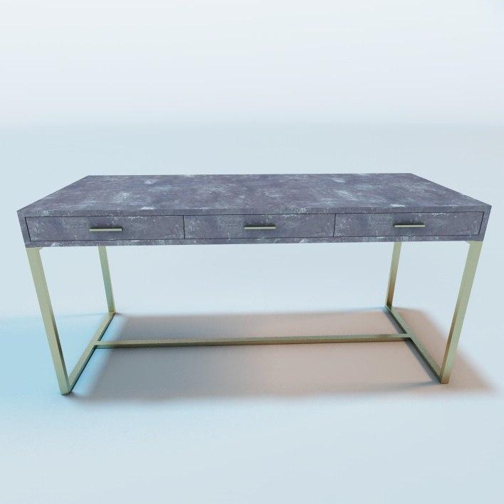 gray shagreen desk 3d model