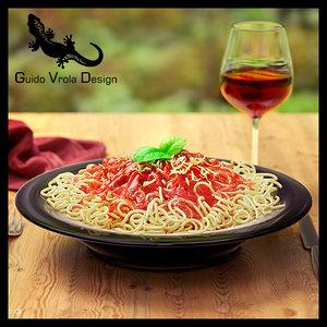 spaghetti plate 3d obj