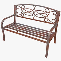 3d model steel scrollwork bench