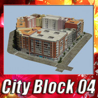 3d european city block 04 model
