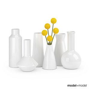 3d model set ceramic vases
