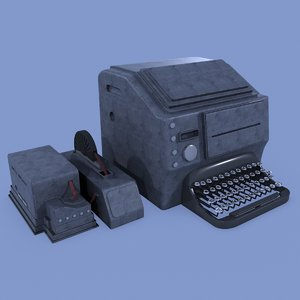3d model of teletype machine