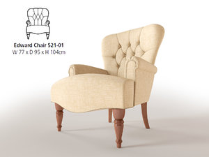 3d model accent chair edward parker