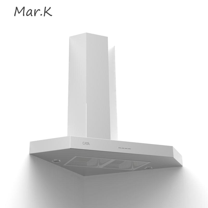 3d model kitchen hood cata angolo