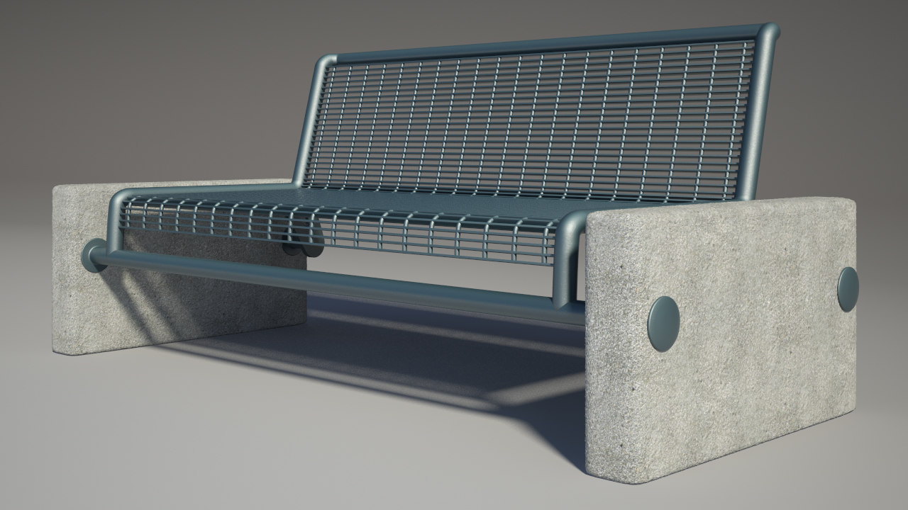 3d model bench photorealistic