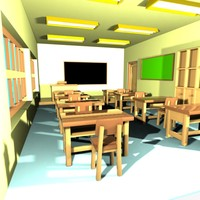 Cartoon Classroom Interior 1