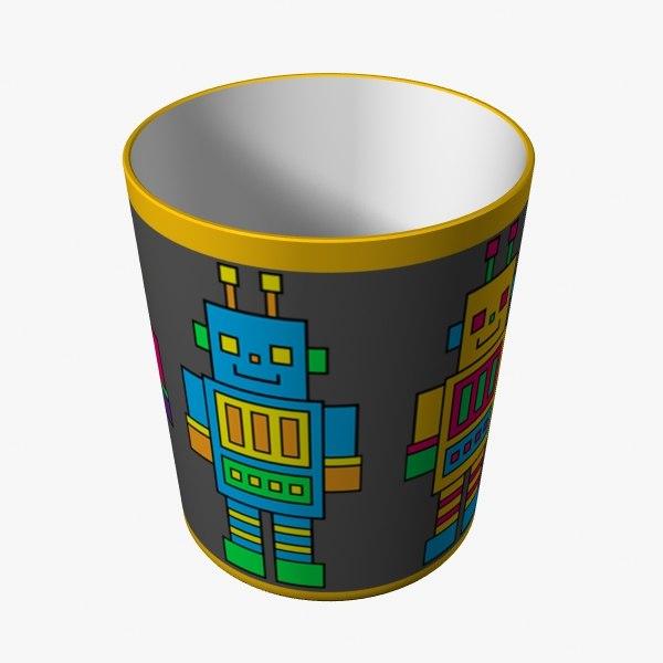 robot bin 3d model