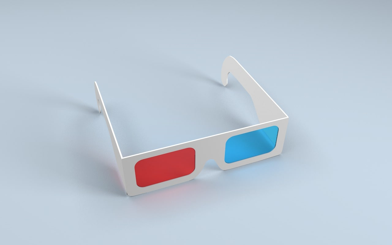 3d anaglyph paper glass model