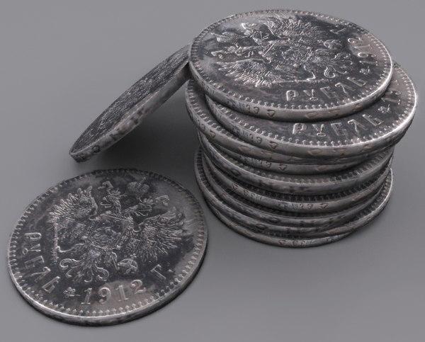 antique 1912 coin 3d model