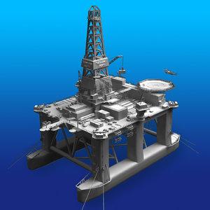 deepwater oil rig 3d model