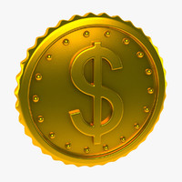 3d model coin gold golden