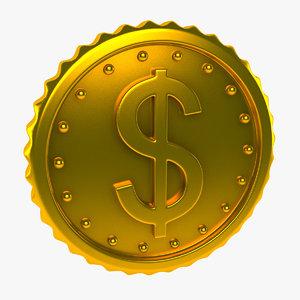3d model coin gold golden