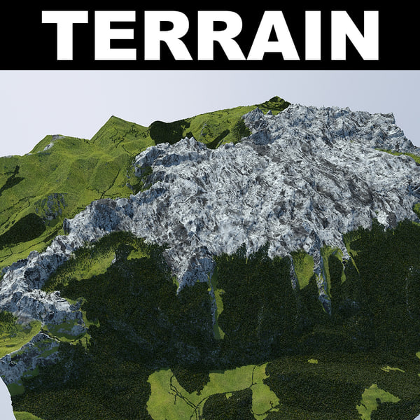 3d terrain trees rocks model