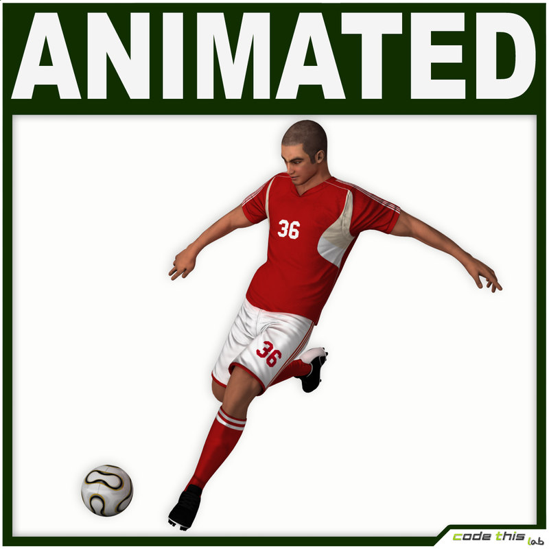 3d team soccer player cg