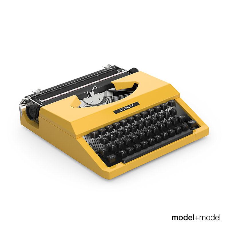 3d silver reed typewriter model