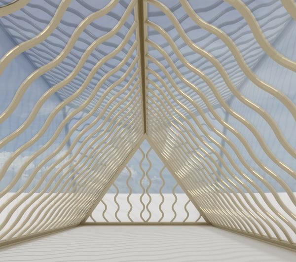 wavy pyramid hall 3d model