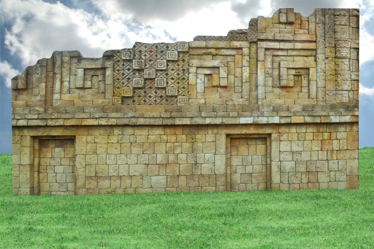 3d historical aztec stone wall