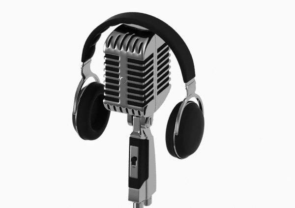 vintage microphone stand headphones 3d model
