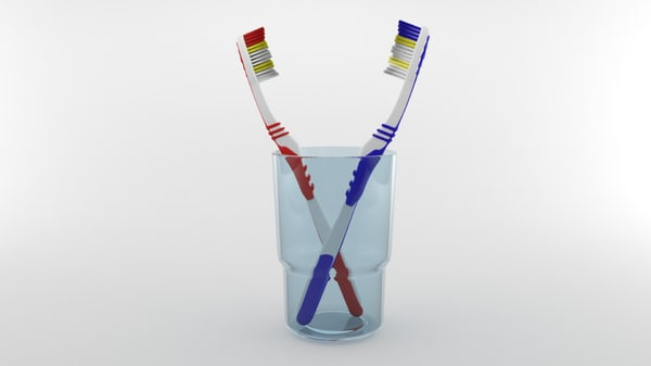 toothbrushes glass cup 3d model